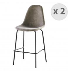 VEGAS-65-Tabourets de bar microfibre vintage brun clair pieds métal noir (x2)