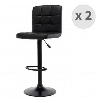 SQUARE-Tabourets de bar design réglable PU noir pieds noirs (x2)