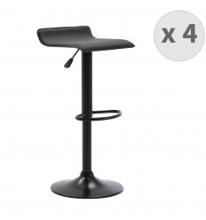 LEO -Tabourets de bar design réglable PU noir pieds noirs (x2)