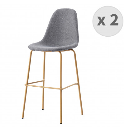 VEGAS -75- Tabouret de bar tissu gris pieds métal bois (x2)