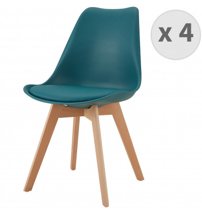 LIGHTY-Chaise PP bleu canard pieds Hêtre (x4)
