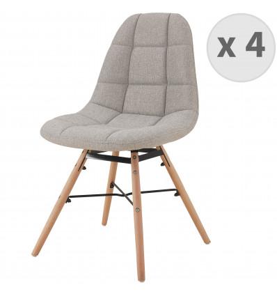 UMA-Chaise scandinave tissu lin pieds hêtre (x4)