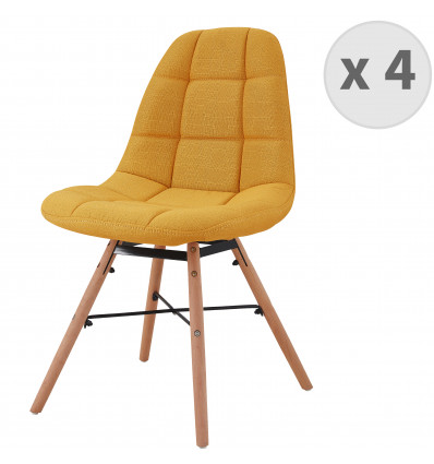 UMA-Chaise scandinave tissu curry pieds hêtre (x4)
