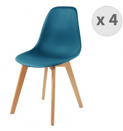 LENA-Chaise scandinave bleu canard pied hêtre (x4)