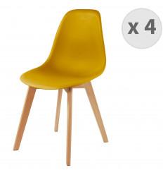 LENA-Chaise scandinave curry pied hêtre (x4)