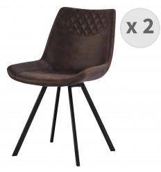 FALCON-Chaise microfibre vintage café pieds métal noir (x2)