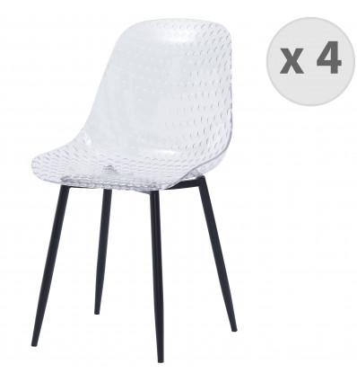 GLASS-Chaise design polycarbonate transparent pieds métal noir(x4)