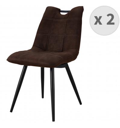 HANDY-Chaise Microfibre vintage café pieds métal noir (x2)