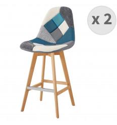 OWEN-Tabouret de bar tissu patchwork bleu pieds hêtre (x2)
