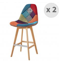 OWEN -Tabouret de bar tissu patchwork bleu pieds hêtre (x2)