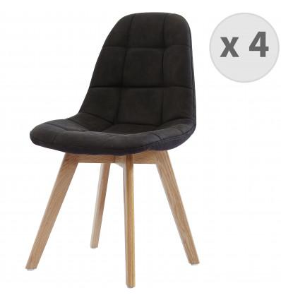 STELLA OAK-Chaise vintage microfibre vintage ébène pieds chêne (x4)