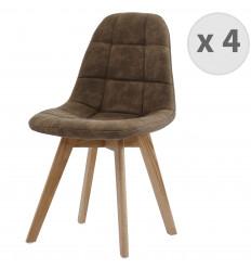 STELLA OAK-Chaise vintage microfibre vintage marron pieds chêne (x4)