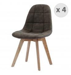 STELLA OAK-Chaise vintage microfibre vintage marron clair pieds chêne (x4)