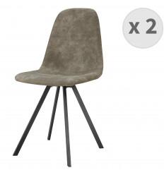 ATLANTA-Chaise industrielle microfibre brun clair vintage pieds noirs (x2)
