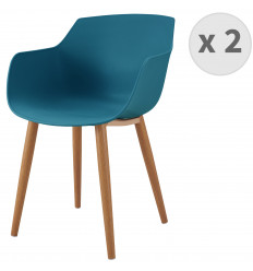 ANDREA-Chaise scandinave bleu canard pied métal effet bois (x2)