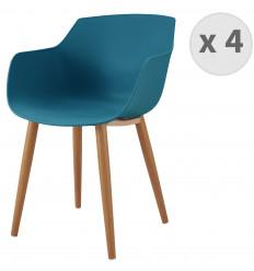 ANDREA-Chaise scandinave bleu canard pied métal effet bois (x4)