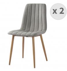 CARLA-chaises Scandinave tissu lin pieds métal effet bois(x2)