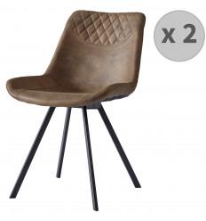FALCON-Chaise microfibre vintage brun pieds métal noir (x2)