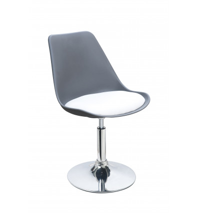 POPPY-Lotx2 chaises pivotantes et réglables, PU blanc/gris, pieds chromé