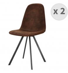 LINA Chaise, pieds métal noir brossé,microfibre vintage café (x2)