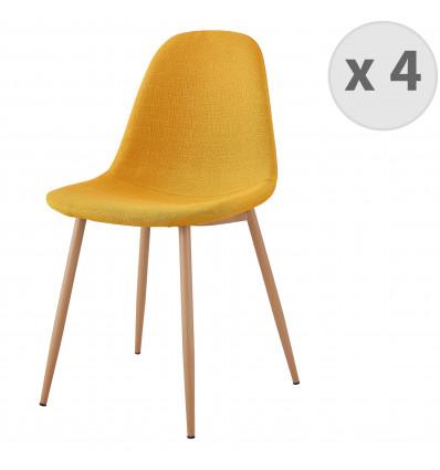 ORLANDO-Chaise tissu curry pieds métal bois (x4)