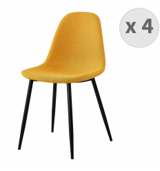 ORLANDO-Chaise tissu curry pieds métal noir (x4)