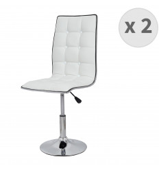 Lotx2 chaises pivotantes et réglables, Assise PU blanc, Structure métal chromé