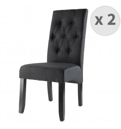 CUBA-Chaise Scandinave capitonnée tissu noir pieds noir (x2)