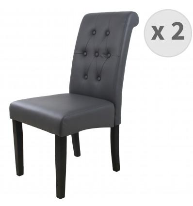 CUBA-Chaise Scandinave capitonnée PU gris pieds noir (x2)
