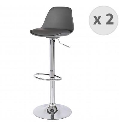 NEO-Tabourets de bar design réglable PU gris pieds chrome (x2)
