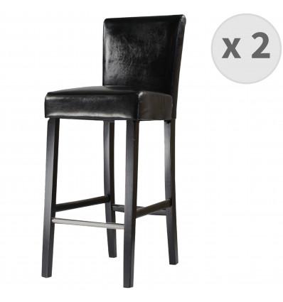 TURNER-Chaise de bar PU noir pieds noir (x2)