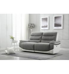 ASTANA-Canapé 3 places relax électrique tissu gris simili blanc