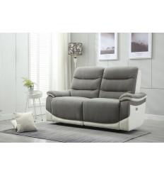 ASTANA-Canapé 2 places relax électrique tissu gris simili blanc