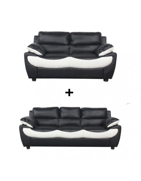 nouveaux styles 666be 7bb43 Ensemble de canapé 3+2 p Simili noir blanc LUXY 2P Design