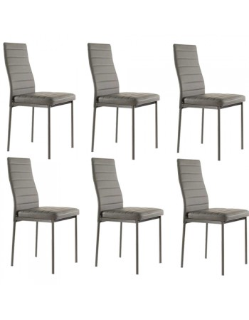 Lot de 4 chaises ANNA grises en simili