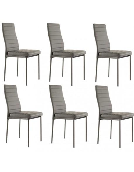 Lot de 4 chaises ANNA grises en simili