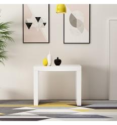 Table avec console extensible laquée blanche ZEHRA