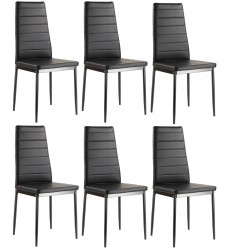 Lot de 6 chaises ANNA noires en simili