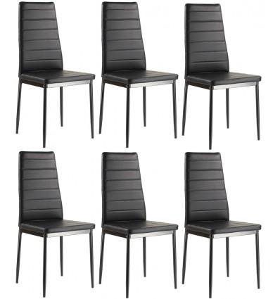 Lot de 6 chaises ANNA noires en simili