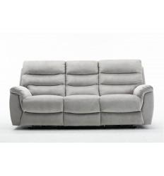 Canapé relax 3 places tissu gris ARONA