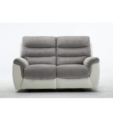 Canapé relax 2 places tissu gris et PU blanc ARONA
