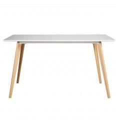 NINA-Table repas plateau blanc mat pied hêtre