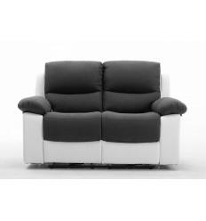 Canapé relax 2 places gris et blanc KEATON