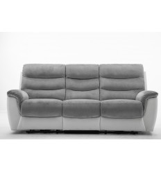 Canapé relax 3 places tissu gris et PU blanc ARONA