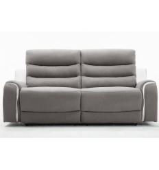 FARO-Canapé 3 places tissu gris et PU blanc 2 Relax électriques