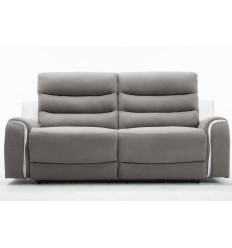 Canapé relax 3 places tissu gris et PU blanc FARO