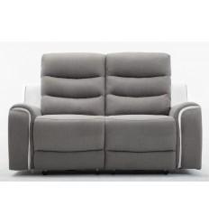 FARO-Canapé 2 places tissu gris et PU blanc 2 Relax électriques