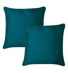 Lot de 2 coussins tissu bleu canard ELI