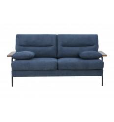 SOREN-Canapé charme 3 places tissu bleu pied noir