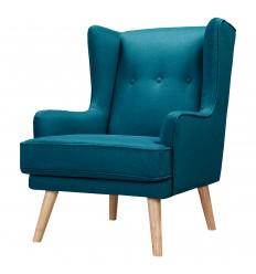 GUSTAV-Fauteuil scandinave tissu bleu canard pieds bois